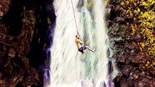 Hombre haciendo salto catarata