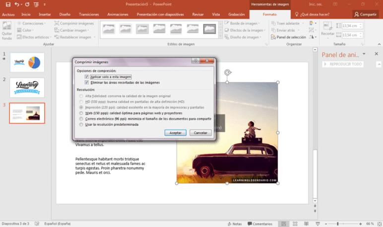 Reducir el tamaño de las imágenes en PowerPoint