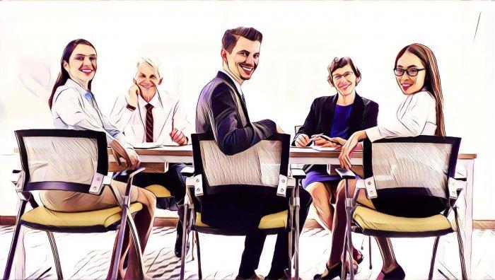 Grupo reunido oficina