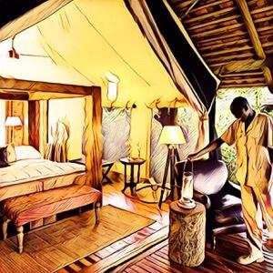 Habitación de hotel en safari África