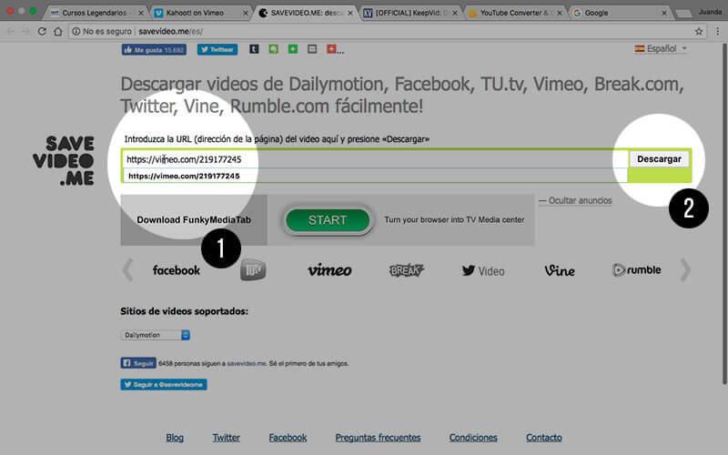 Pegamos la URL y pulsamos a descargar