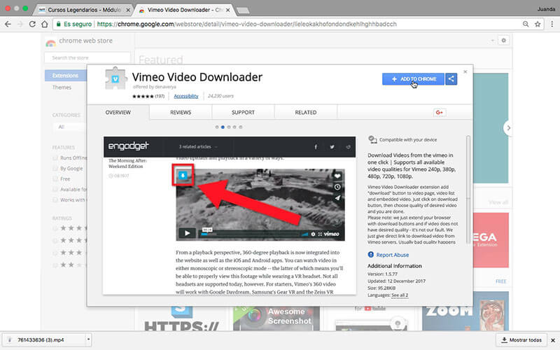 video da vimeo con chrome