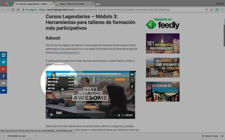 Vimeo Video Downloader en funcionamiento
