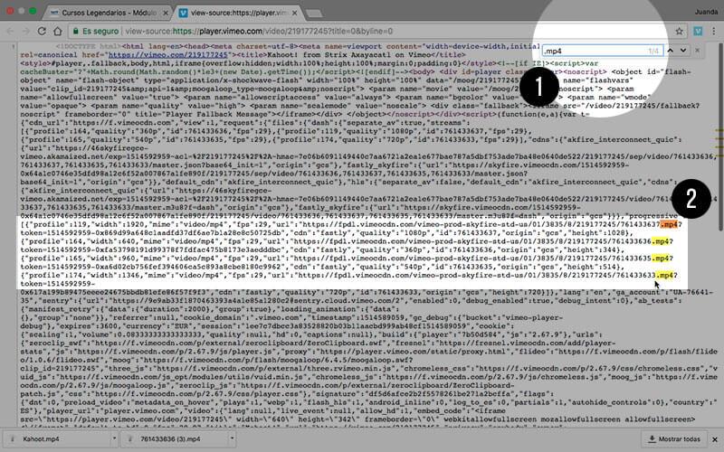 Buscando los ficheros .mp4