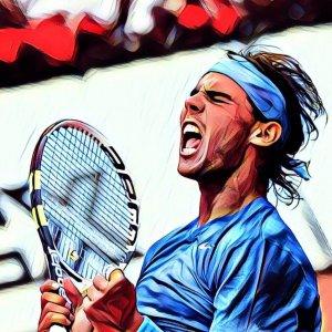 Rafa Nadal celebrando victoria partido