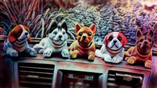 Perro de plastico que mueve la cabeza en salpicadero de coche
