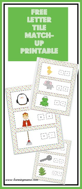 Printable upper and lowercase letter tile matching activity pages FREE! - www.learningmama.com