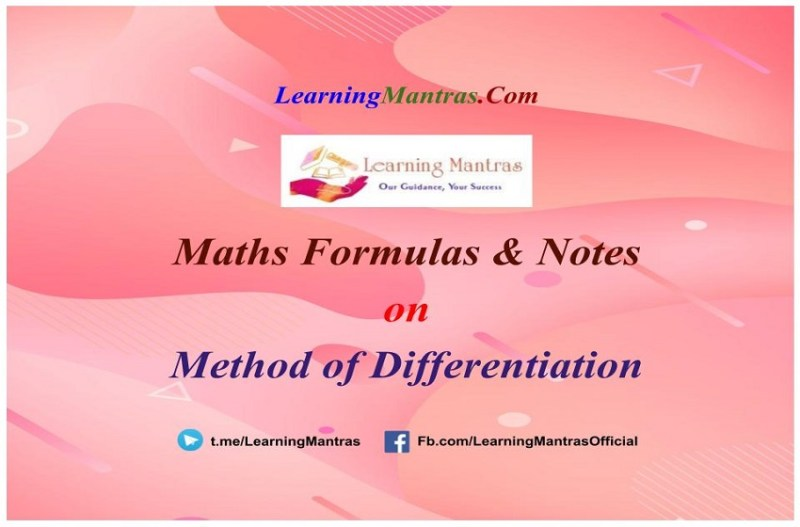 Method of Differentiation Notes PDF