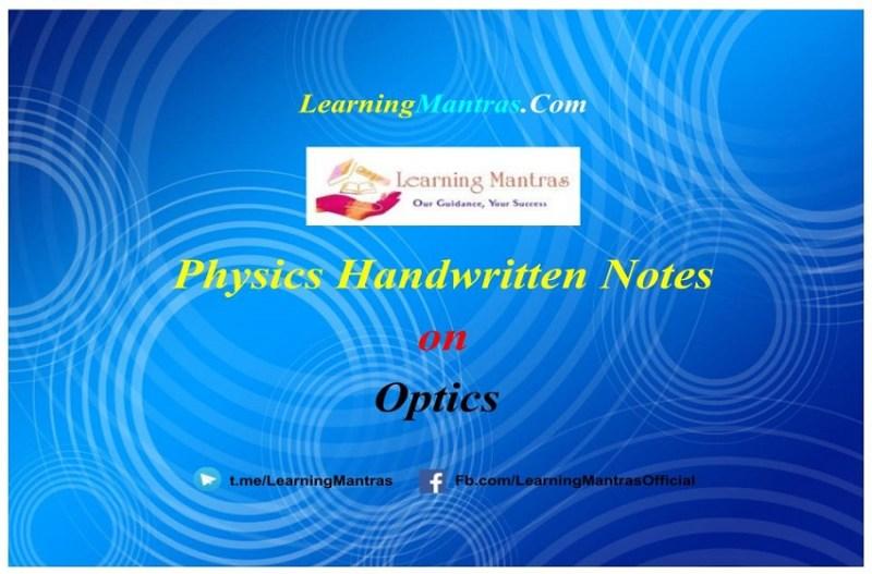 Optics Handwritten Notes PDF