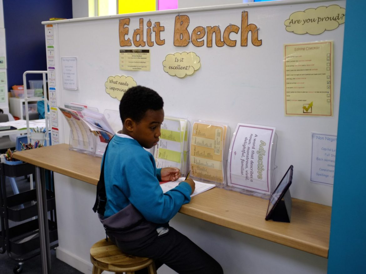 Edit bench for children to independently edit writing.