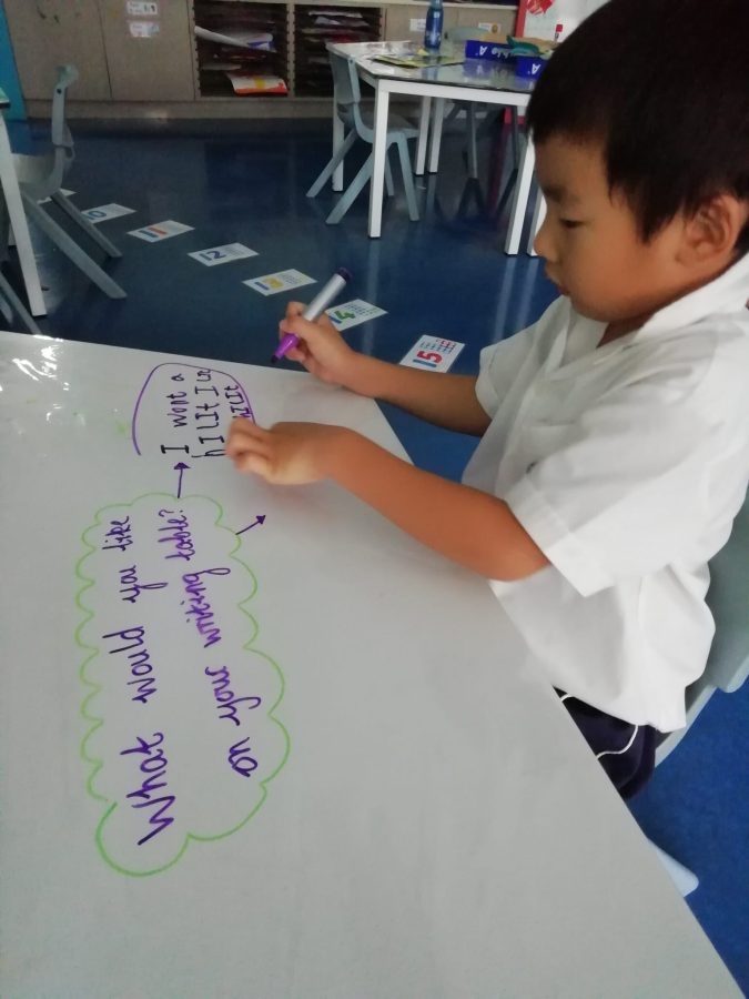 "Child writes on table to respond to prompt, ""What would you like on your writing table?"" Gives children ownership over their learning environment."