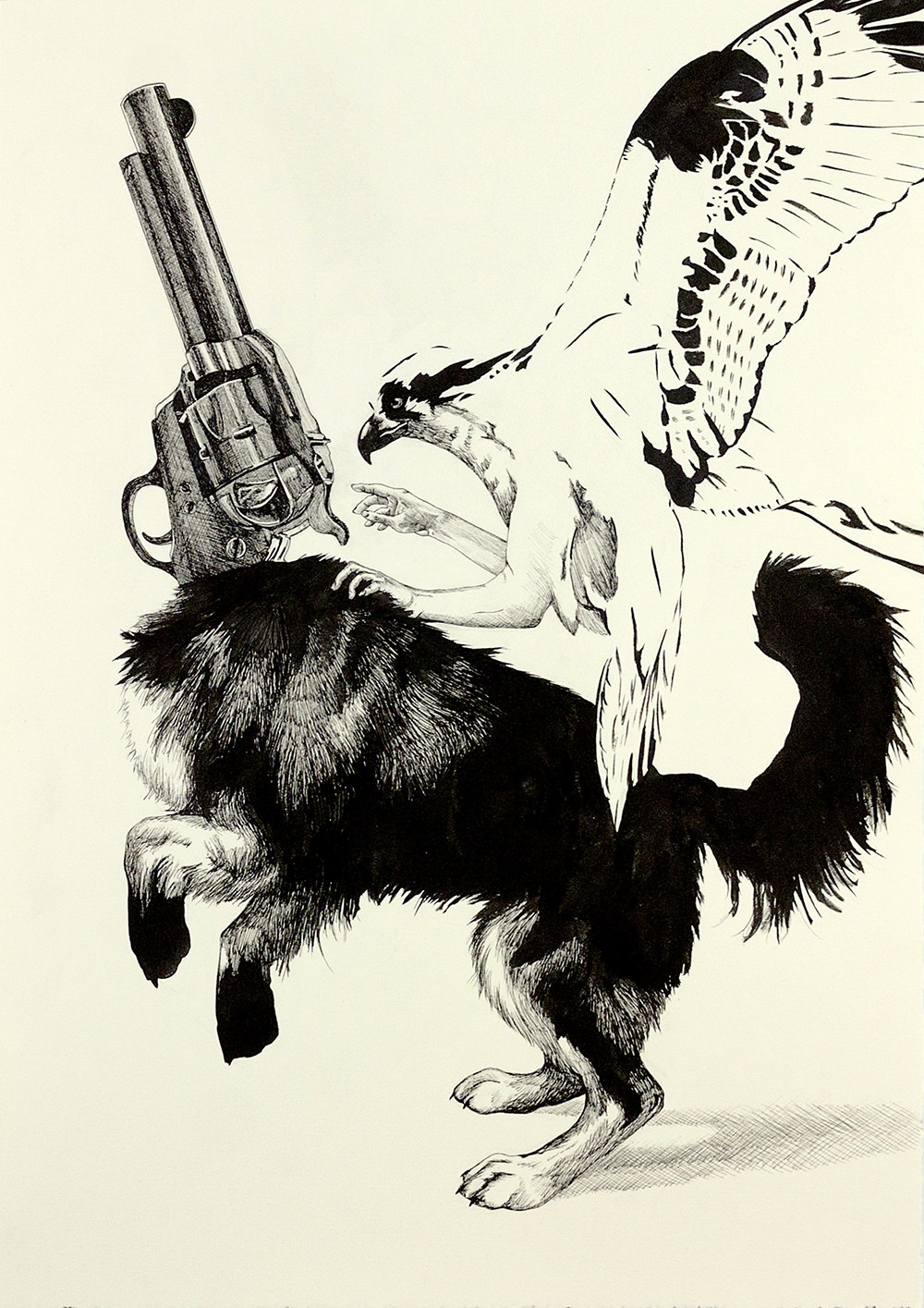 Trigger Finger, Ink Drawing by Jenie Gao
