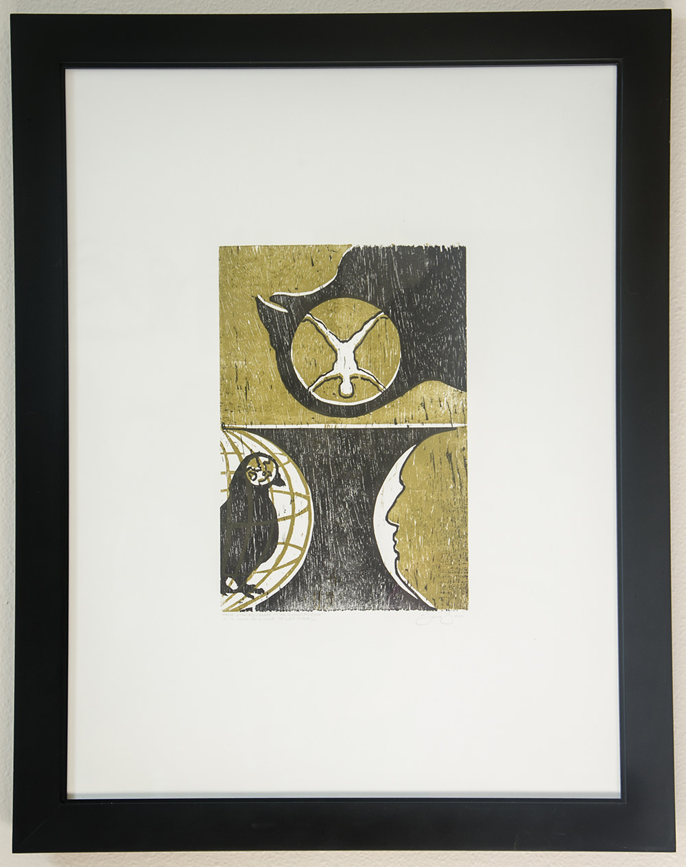 """""""The Golden Cage,"""" woodcut on paper, 18 x 24 inches, by Jenie Gao"""