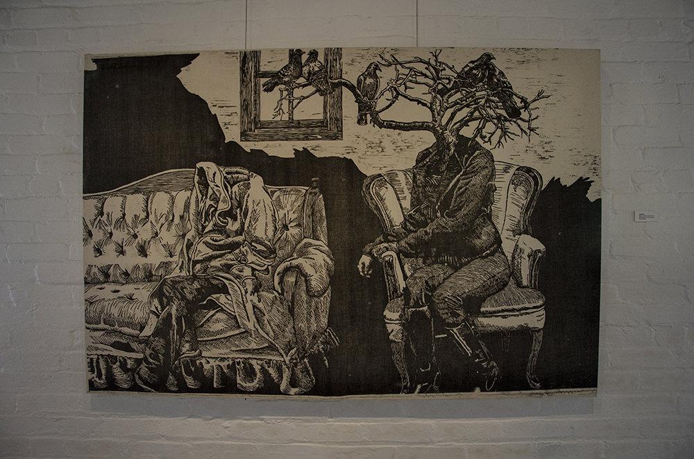 """""""Attention,"""" woodcut by Jenie Gao, on view at Arts + Literatury Laboratory, Madison, WI."""