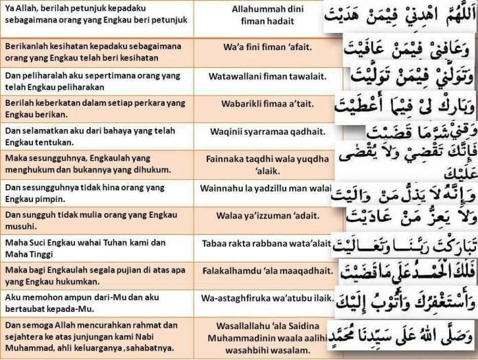 Bacaan doa qunut subuh