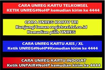 ✓✓✓ Cara Unreg Kartu Telkomsel, XL, Indosat, Axis, Tri, Smartfren