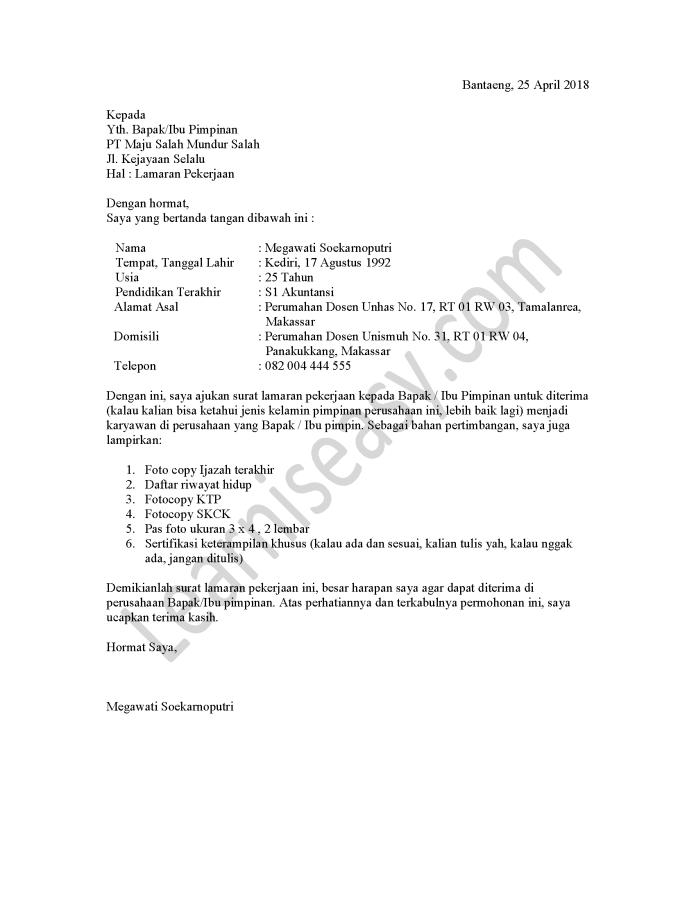 contoh surat lamaran kerja perusahaan