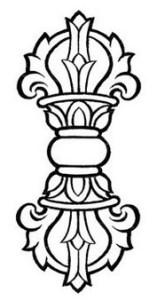 Dorje, symbol of Method, held in left hand