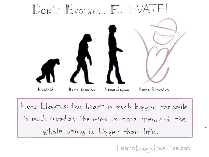 Quote do not evolve elevate LRN LAF LUV LIV LYF Learn Laugh Love Live Life