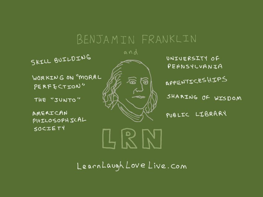 Benjamin Franklin LRN LAF LUV LIV LYF Learn Laugh Love Live Life