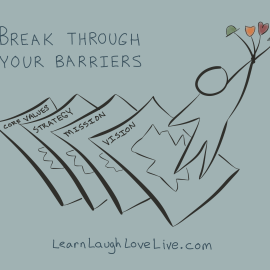 Break Barriers LRN LAF LUV LIV LYF Learn Laugh Love Live Life Values Strategy Mission Vision