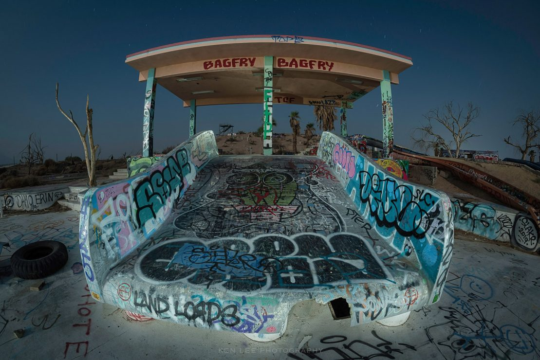 A night photo of an abandoned waterpark in the Mojave Desert. I increased the detail and sharpening with Luminar