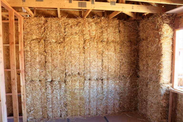 straw bales stacked on end