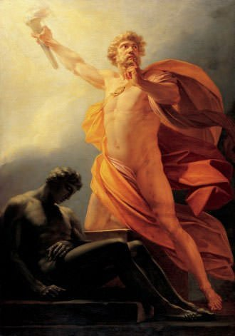 Prometheus Brings Fire to Mankind Painting