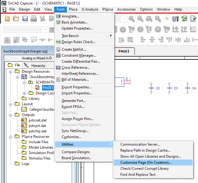 OrCAD Capture 17.2 menu Tools - Utilities - Customize Page (On Creation) option