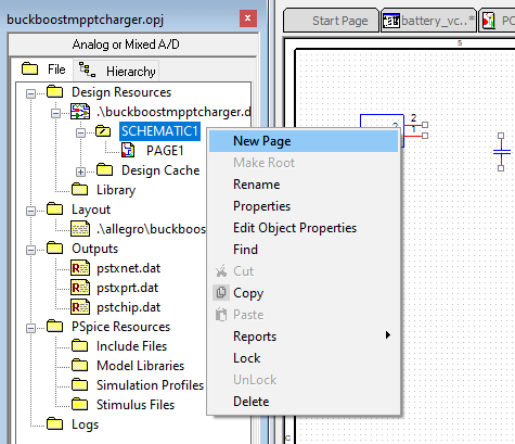 Creating a new schematic page in OrCAD Capture 17.2