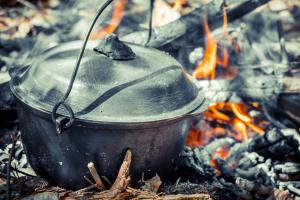 kettle over campfire close up