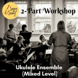 Ukulele class photo. Text: Song by Song 2-Part Workshop Ukulele Ensemble (Mixed Level).