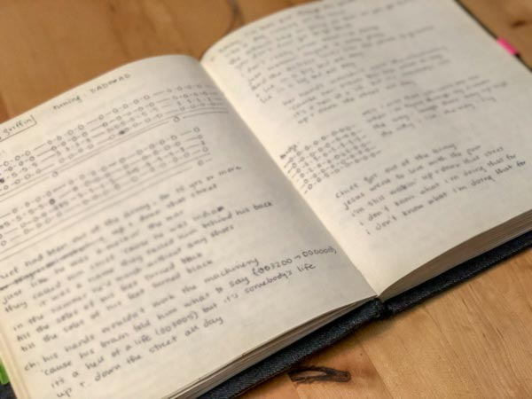 Open songbook page with blurred image of song lyrics and notes