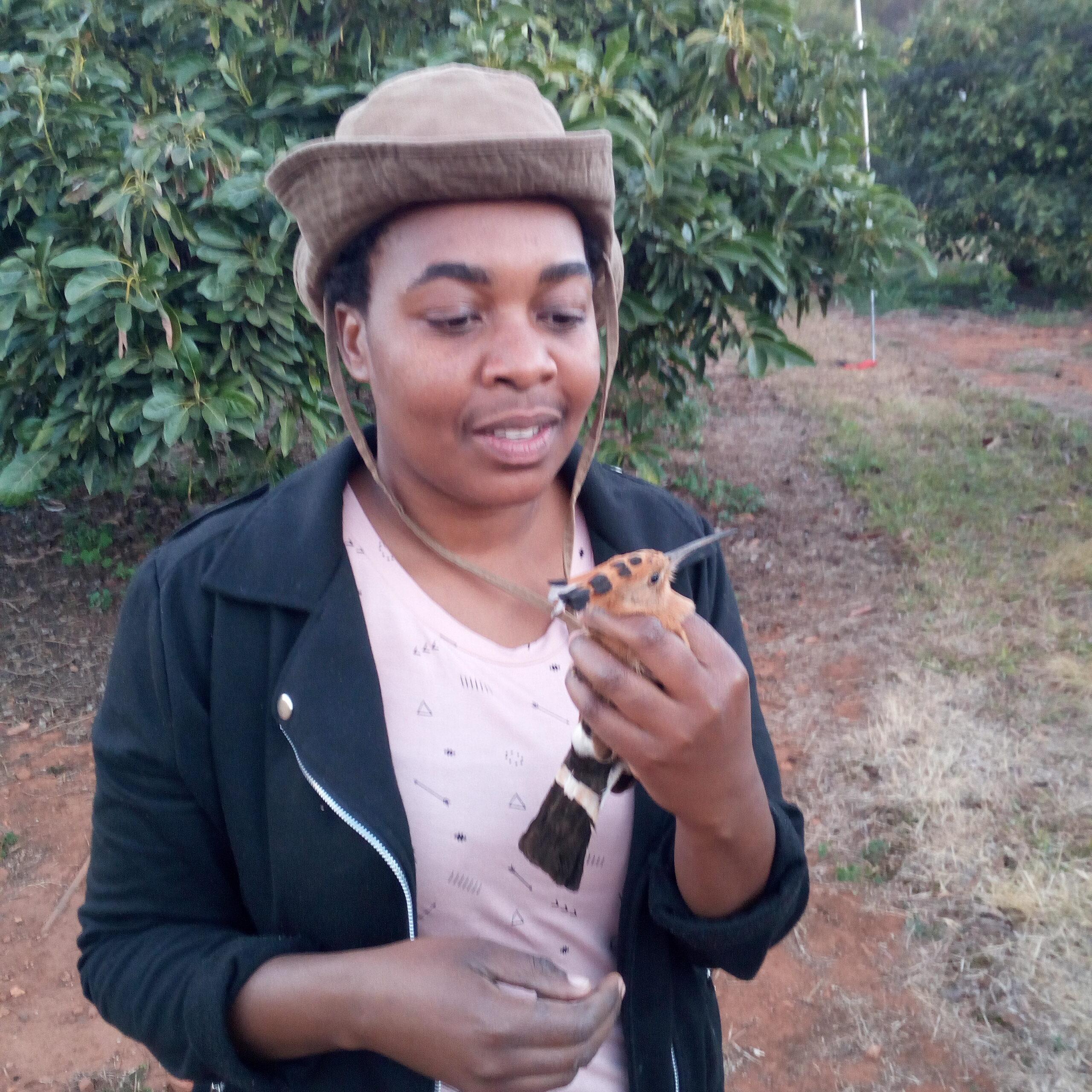 Celiwe Ngcamphalala and a hoopoe