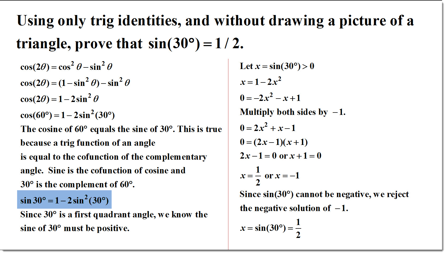Using Only Trig Identities And Without Drawing A Picture