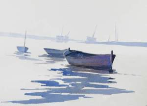 Painting in watercolour of boats at Burnham Overy