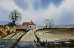 Watercolour painting of Norfolk barns