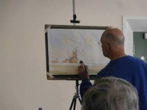 watercolour demonstration cley windmill 2