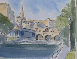 pen and wash painting of Pulteney bridge and weir bath