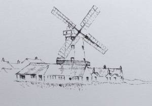 Pen drawing of Cley windmill