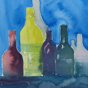 Watercolour painting of collection of bottles