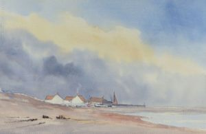 painting of a fishing village in the style of Edward Seago