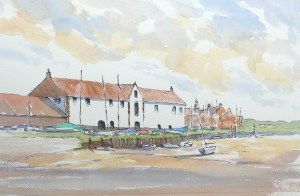 Pen and wash painting of Burnham Overy Staithe