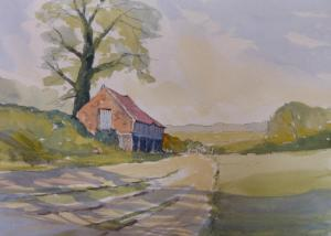pen and wash of old Norfolk barn