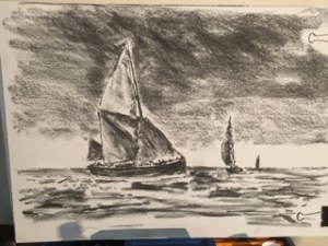Charcoal sketch of a Thames sailing barge