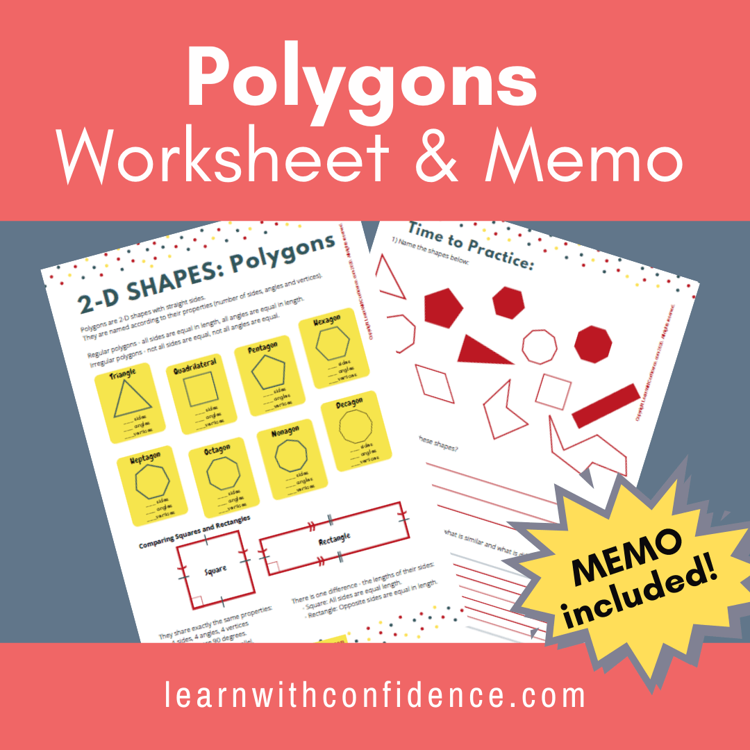 2d Shapes Polygons Worksheet And Memo Grade 5