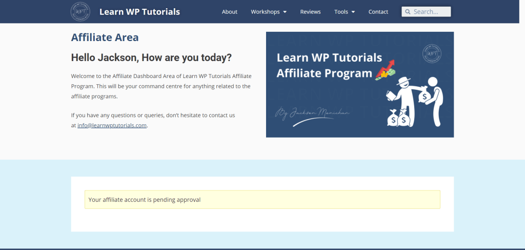 Learn WP Tutorials Affiliate Area - Pending Approval