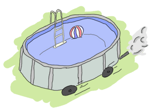 A pool with wheels and an exhaust pipe