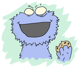 A parody of Cookie Monster, looking a bit more like a monster.