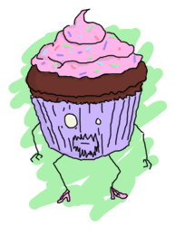 A chocolate cupcake with pink creamy topping in a purplish paper, with a face, beard, legs and high heel shoes (pink)